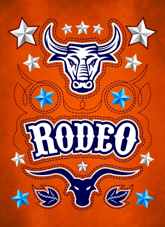 bucking bull: Grunge style Rodeo Championship poster with longhorn and stitch