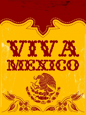 western town: Viva Mexico - mexican holiday vector poster
