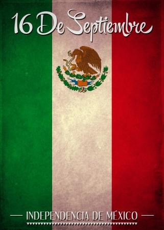 szeptember: Szeptember 16 mexikói függetlenség napi spanyol szöveg Stock fotó