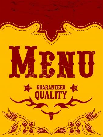 western background: Restaurant menu design
