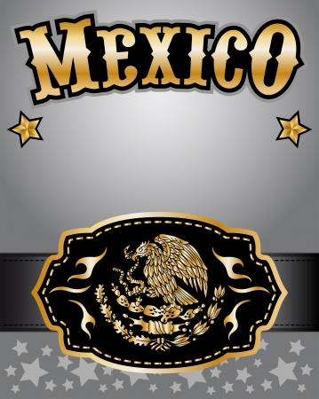 belt buckle: Mexico cowboy gold belt buckle design and lettering