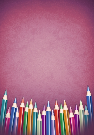 Background with colored pencils - school poster template
