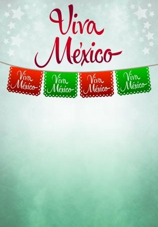 bandera mexicana: Viva M�xico anunciante - decoraci�n de papel mexicano Foto de archivo