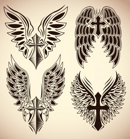 jesus en la cruz: Conjunto de cruz y alas - tatuaje - elementos Vectores