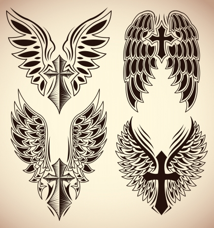 celtic cross: Set of cross and wings - tattoo - elements