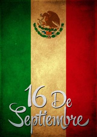 16 de Septiembre, dia de independencia de Mexico - September 16 Mexican independence day spanish text card - poster - copyspace Banco de Imagens