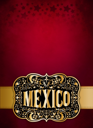 belt buckle: Mexican cowboy belt buckle design - poster - card template Stock Photo