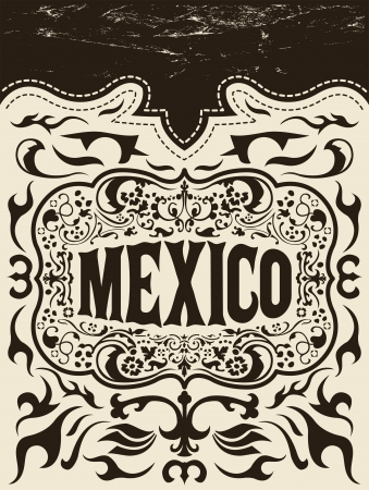 Mexico western elements set - Grunge effects can be easily removed  Vector