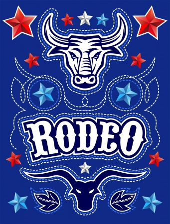 longhorn cattle: American Rodeo poster - card template