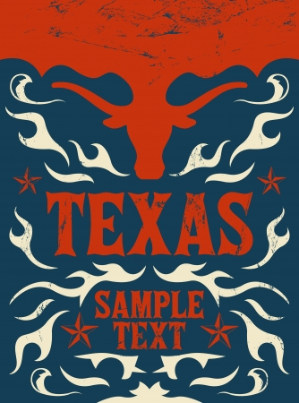 western usa: Texas Vintage poster  Illustration