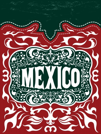 Vintage Touristic Greeting Card - Mexico - poster - menu Vector