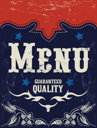 Vector american grill - steak - restaurant menu design - western style Vector