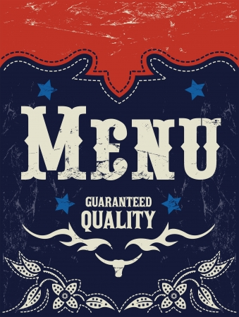 Vector american grill - steak - restaurant menu design - western style