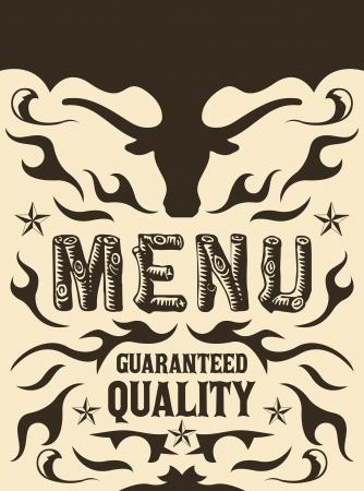 Vector grill - steak - restaurant menu design - western style Ilustração