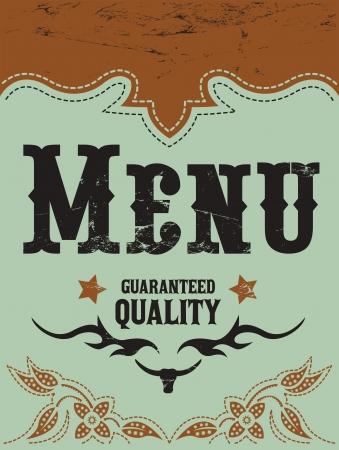 Vektor der Weinlese Grill - Steak - Restaurant Menü-Design - im westlichen Stil Standard-Bild - 21982734