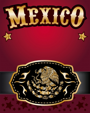 buckle: Mexico cowboy gold belt buckle vector design and lettering