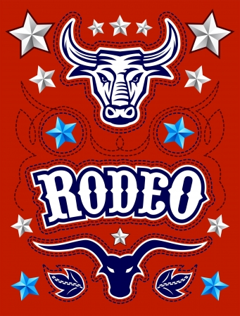 longhorn cattle: American Rodeo poster - card template - Vector set - elements