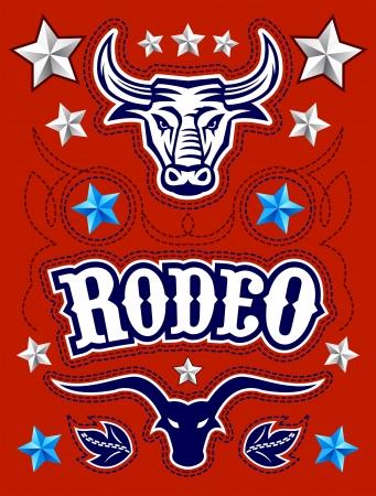 rodeo americano: Americana Rodeo poster - plantilla de la tarjeta - Vector conjunto - elementos