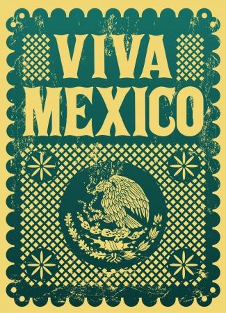 Vintage Viva Mexico - affiche de vecteur de vacances mexicaines - effets grunge peuvent être facilement enlevés Banque d'images - 22120426