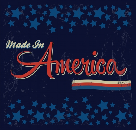 Retro - Vintage Made in America Sign - Vector - Grunge effects can be easily removed  Vector