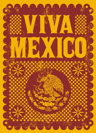 mexico culture: Vintage Viva Mexico - mexican holiday vector poster - Grunge effects can be easily removed