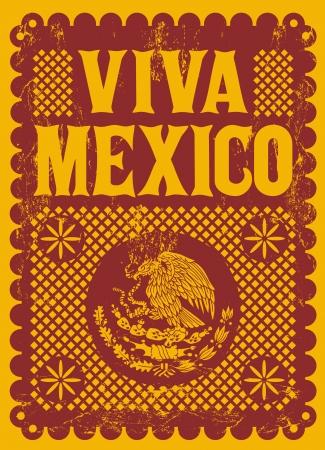 Vintage Viva Mexico - vacanza messicana vettore poster - effetti grunge può essere facilmente rimosso Archivio Fotografico - 22120446
