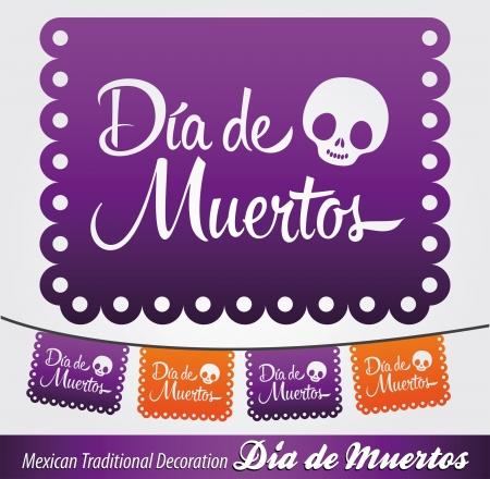 dia de muerto: Dia de Muertos - d�a mexicano de la muerte espa�ol texto vector decoraci�n - letras