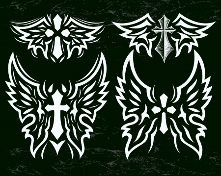 cross and wings: Cross and Wings vector set - Stylized cross and angel wings - Grunge effects can be easily removed