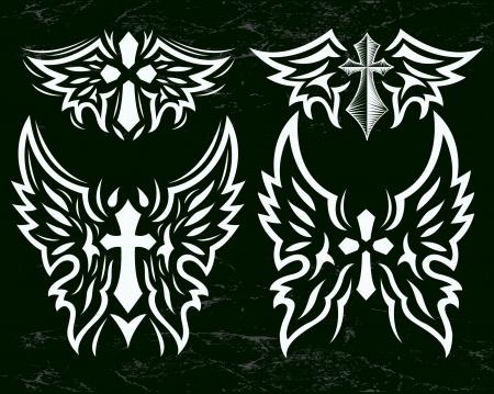 cross and wings: Cruz y alas conjunto de vectores - cruz estilizada y alas de �ngel - efectos Grunge se puede quitar f�cilmente Vectores