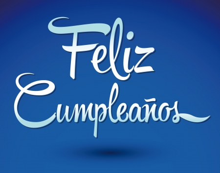 Feliz Cumpleanos - happy birthday spanish text - vector lettering Фото со стока - 22406240