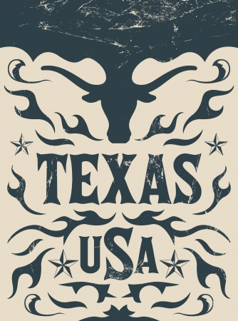 longhorn: Texas Vintage poster - Card - western - cowboy style - Grunge effects can be easily removed Illustration