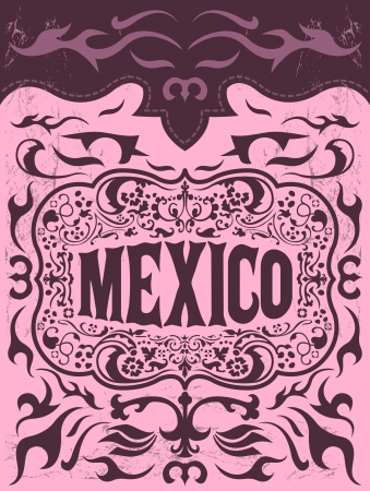 president of mexico: Mexico western elements set - mexican holiday vector poster