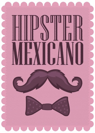 Hipster Mexicano - Mexican Hipster spanish text - poster - card - with mustache and bowtie Çizim