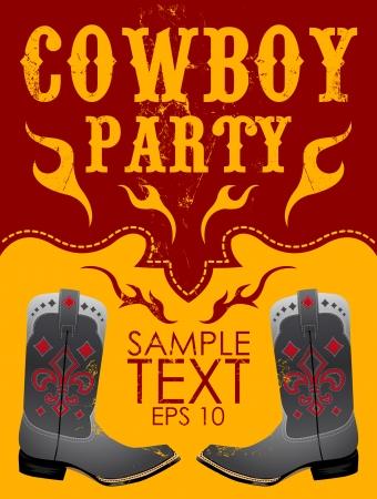 Cowboy party poster vector - invitation - eps 10 Vector