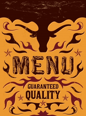Vector grill - steak - restaurant menu design - western vintage style Vector