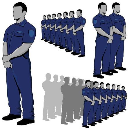 Police - security guard vector set  Stock Illustratie
