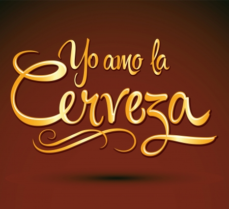 Yo amo la cerveza - I love beer spanish text - vector lettering Vector