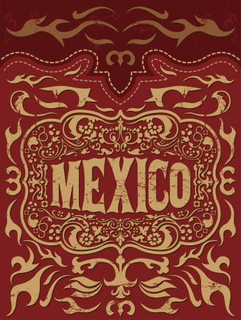 Retro mexicaanse vakantie vector poster - Mexico westerse elementen set Stock Illustratie