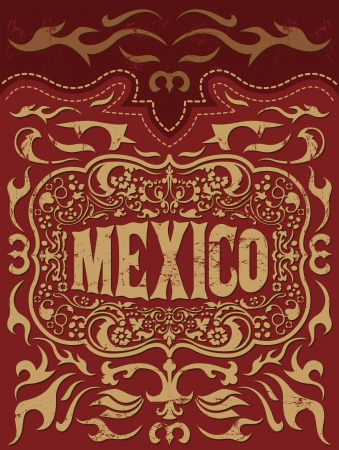 Retro mexican holiday vector poster - Mexico western elements set
