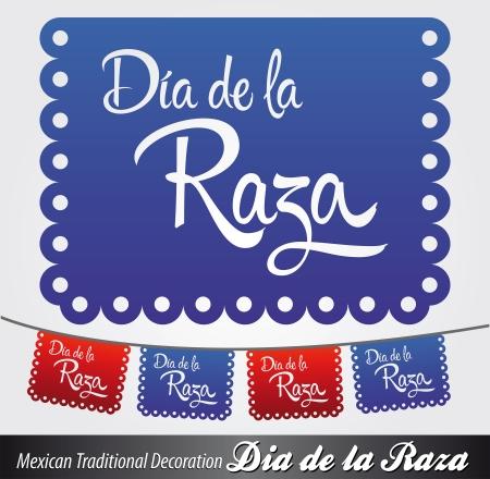 Dia de la Raza - Day of the race - Columbus Day spanish text - latin decoration Stock Vector - 22406258