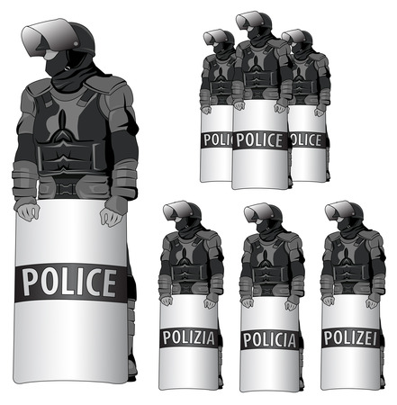 riot: Anti Riot police - vector set - the word  police  comes in several languages