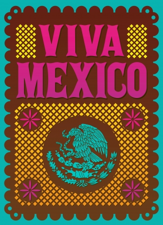 Colorful Vintage Viva Mexico - mexican holiday vector poster  Stock Illustratie