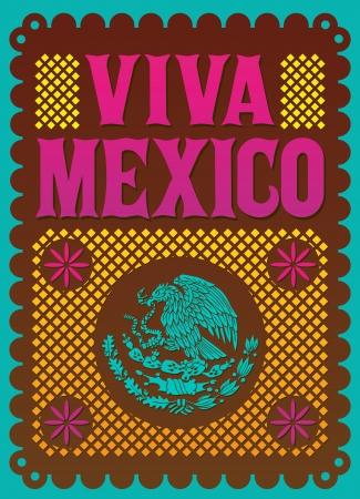 Kleurrijke Vintage Viva Mexico - Mexicaanse vakantie vector poster Stock Illustratie