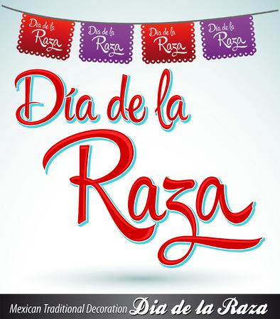 Dia de la Raza - Day of the race - Columbus Day spanish text - latin decoration Vector