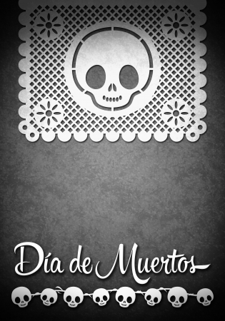 cut paper: Mexican Day of the Death poster template