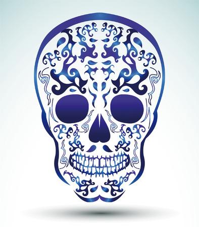 halloween tee shirt: Day of the Dead Skull - tattoo skull Illustration