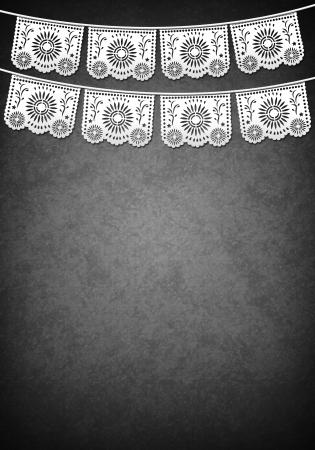 Mexicaanse decoratie poster template - grijstinten - exemplaar ruimte