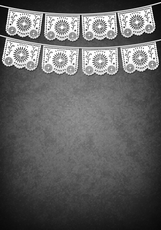 fiesta: Mexican decoration poster template - grayscale - copy space Stock Photo