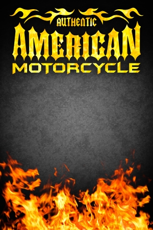 American motorcycle grunge poster with fire - card design - copy space
