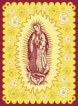 catholicism: Mexican Virgin of Guadalupe - vintage silkscreen style poster